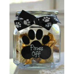 Paws Off Glass Jar